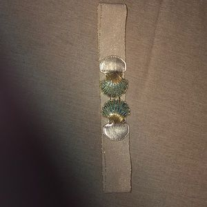 Gold and turquoise seashell elastic waist belt